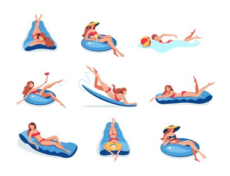 Lady swimming on inflatable ring, air mattress boat
