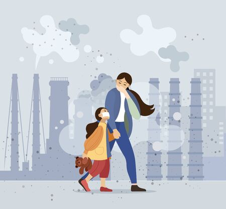 Mom and daughter walk along the dusty, polluted street Ilustrace