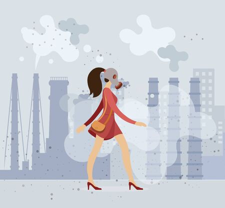 Beautiful girl in a gas mask walks along a dusty Ilustrace