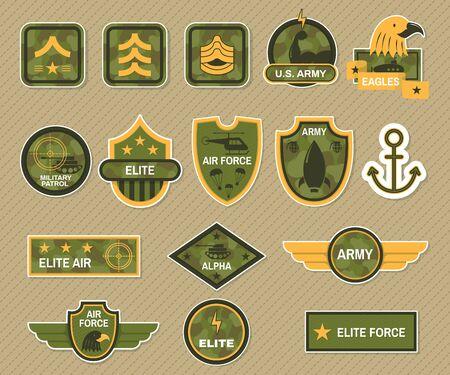Militärsymbol und Armeeabzeichen gesetzter Vektor