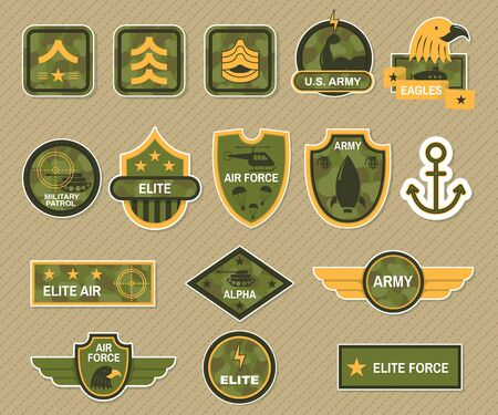 Military symbol and army badge set vector