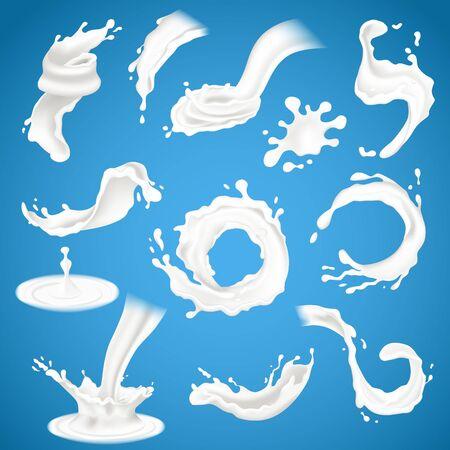 Realistic milk, yogurt splash and pouring vector Stock Vector - 133683885