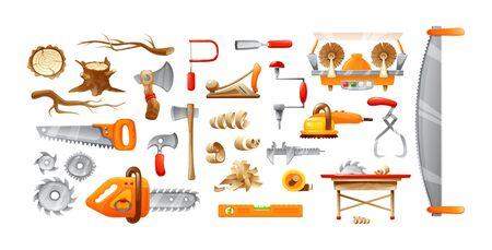 Holzfällerausrüstung, Schneidwerkzeuge stellten Karikaturvektorillustration ein