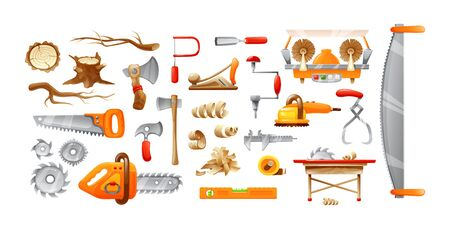 Lumberjack equipment, cutting tools set cartoon vector illustration