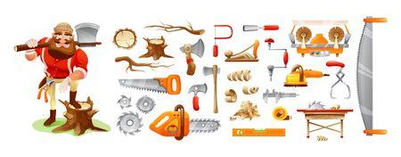 Holzfäller-Cartoon-Figur und Werkzeuge. Förster, Forstwirtschaft Holzwirtschaft Vektorgrafik