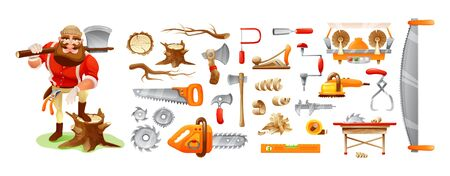 Lumberman cartoon character and tools. Forester, forestry woods industry