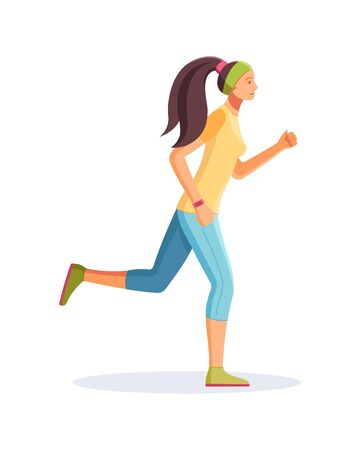 Young running woman, girl jogging cartoon vector isolated