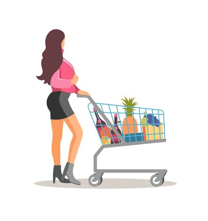 Cute woman with shopping cart full grocery