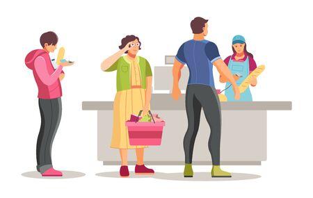 Gruppo di shopping persone in attesa in coda al supermercato