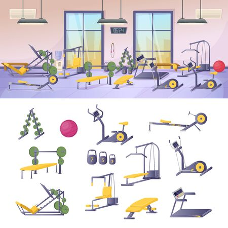 Fitness sports club gym interior with equipment and simulators Vector Illustration