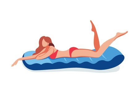 Young woman swimming rubber air mattress rest  イラスト・ベクター素材