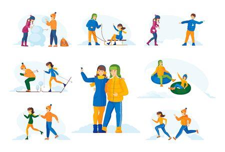 Couple in winter clothes have romantic winter vacation time. Archivio Fotografico - 133683852