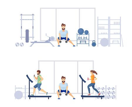 Training in the gym in the fitness club 일러스트