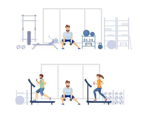 Trening na siłowni w klubie fitness Ilustracje wektorowe