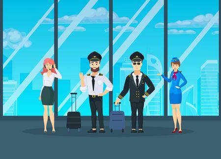 Airplane flight crew in uniform posing cartoon vector Иллюстрация
