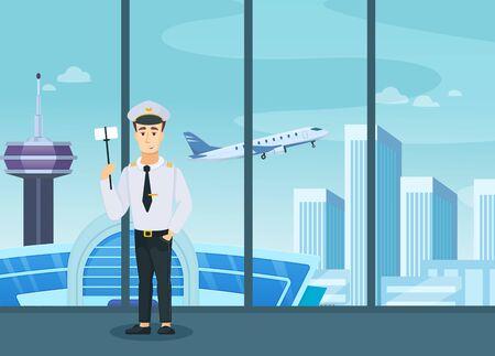 Pilot crew airplane in uniform standing makes selfie Иллюстрация