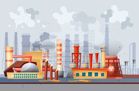 Environmental pollution by industrial dirty waste vector Banque d'images - 133683827