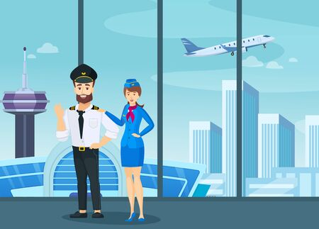 Crew airplane plane captain and stewardess in uniform standing together Иллюстрация