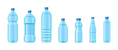 Plastic water bottle blue color set containers of different capacities