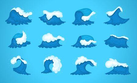 Blue water ocean waves, marine surf wave, ripples tides