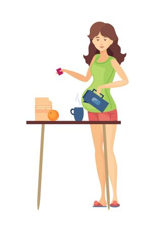 Pregnant woman house work preparing food vector 写真素材 - 133683779