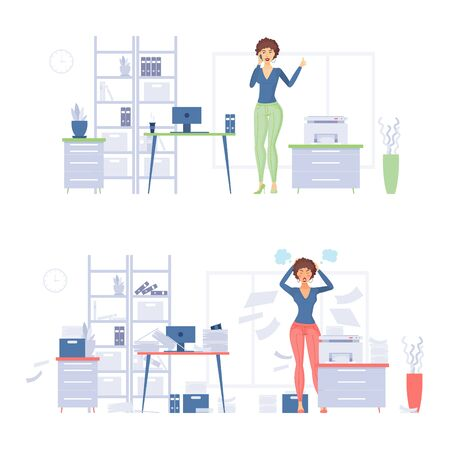Organized and depressed business woman cartoon vector Illustration