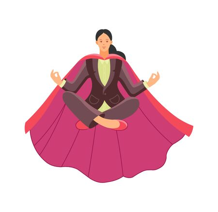 Superhero woman soars, relaxes, meditates in the air.