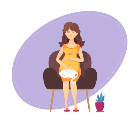 Pregnant lady is sitting in armchair with cat  イラスト・ベクター素材
