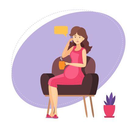 Señora embarazada está sentada en un sillón, hablando con su amiga, Ilustración de vector