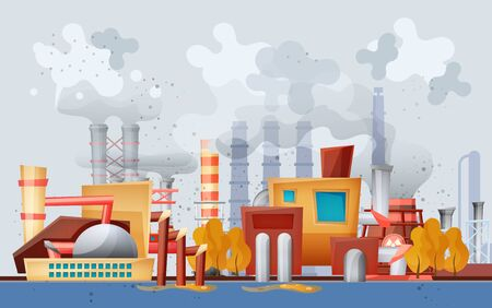 Environmental pollution by industrial dirty waste vector Banque d'images - 133683739