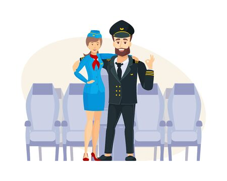 Crew airplane plane captain and stewardess in uniform Иллюстрация