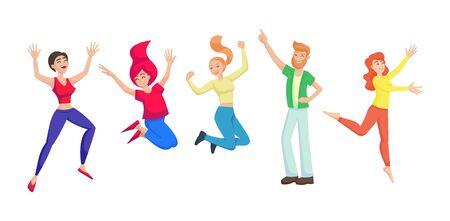 Friends, teenager boys girls together jumping vector