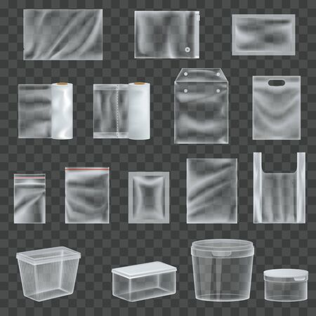 Set of realistic transparent plastic packaging film, packaging for food.