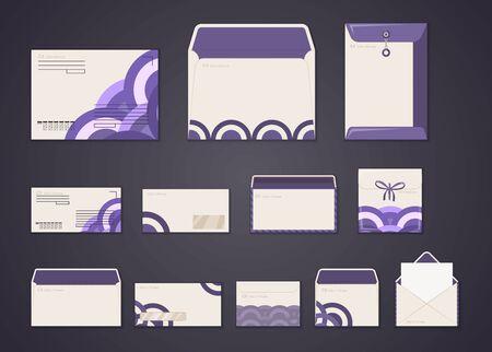 Ensemble d'enveloppes blanches de modèle d'identité d'entreprise