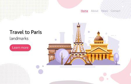 Travel landmarks and architecture France cartoon vector illustration Illustration