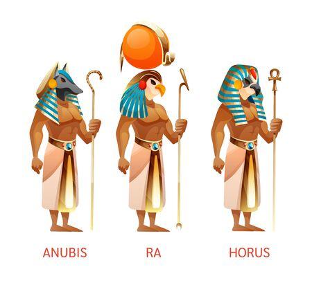 Ancient Egyptian gods Ra, Horus, Anubis from Egyptian mythology religion Çizim