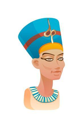 Bust of Nefertiti queen of Egypt in blue headdress