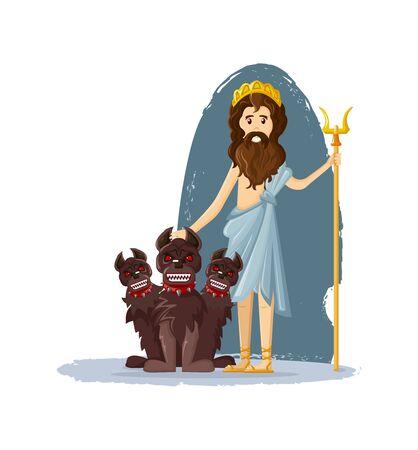 Hades, the god of the underworld, ancient Greek god of the underworld of the dead with three-headed dog cartoon vector illustration Illustration