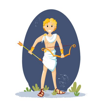Ancient greek mythological god Apollo. Apollo, the god of sunlight, athletic man with a bow and golden arrows, and golden hair vector cartoon illustration Vector Illustration