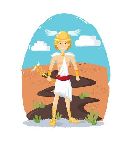 Ancient greek mythological god Hermes vector cartoon illustration