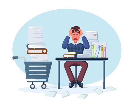 Business man, overwork, stress, deadline. Overworked and tired businessman due to excessive work with full of paperwork sitting at table in the office cartoon vector illustration