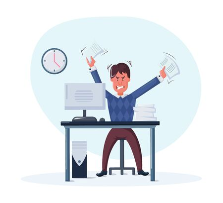 Business man, overwork, stress, deadline. Evil overworked businessman due to excessive work with full of paperwork sitting at table in the office experiencing irritation and rage cartoon vector