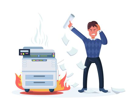 Angry busy businessman with a bunch of printed documents. Business office paperwork documents. Business man, overwork, stress, deadline, incandescent printer tiredness with fire, steam coming vector