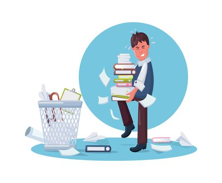 Clerk with document folders, stacks of papers goes to garbage bin, carries a huge stack in his hands. Overworked businessman due to excessive work. Business office paperwork documents vector Illusztráció