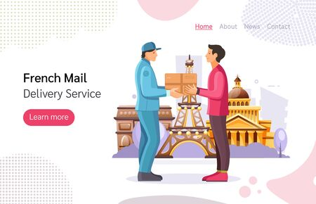 Mail delivery service. French postman work courier hands a package to a person to the addressee in Paris. Post office workers shipping letters landing page cartoon vector illustration