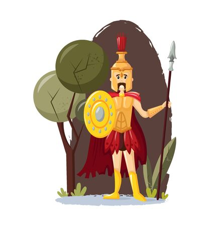 Ancient greek mythological god Ares vector cartoon illustration