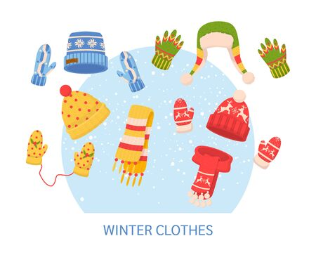Cute winter warm knitted clothes set. Christmas sweaters with festive winter year ornaments. Winter clothes: hats, mittens, scarf, cartoon vector illustration Vector Illustration
