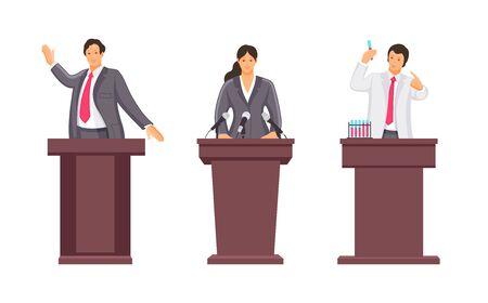 Public speaker, lecturer, orator speak from rostrum with microphone