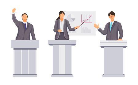 Public speaker, financial specialists, orator speak from rostrum. Public speaking businessman, leader, deputy, ceo director. Performance, presentation, conference congress politicians cartoon vector