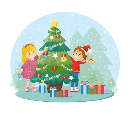 Children decorates Christmas tree together themselves prepare for Xmas